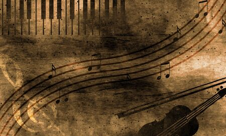 Grunge stave background with keyboaerd and violin photo