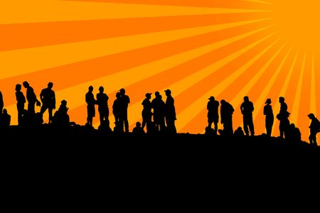 Human shapes in line with sun Stock Photo - 5768049