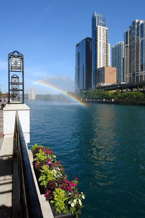 loopable: Rainbow over Chicago river Stock Photo