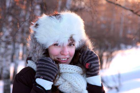 outwear: A portrait of young woman in winter outwear