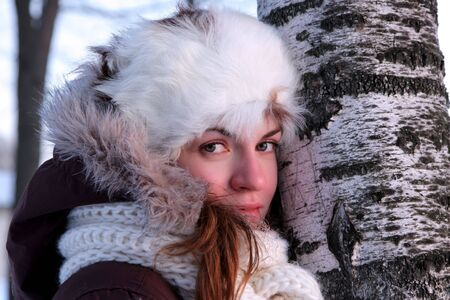 A portrait of young woman in winter outwear Stock Photo - 3470713
