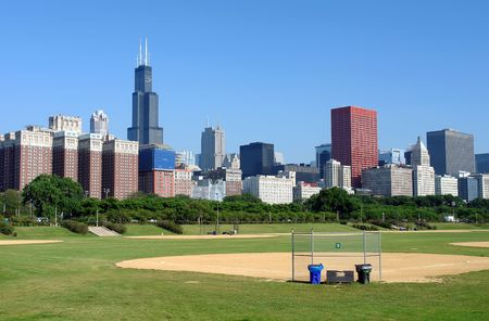 Chicago skyline at the morning photo
