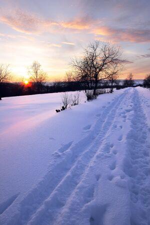 boldino: Winter road at the evening Stock Photo