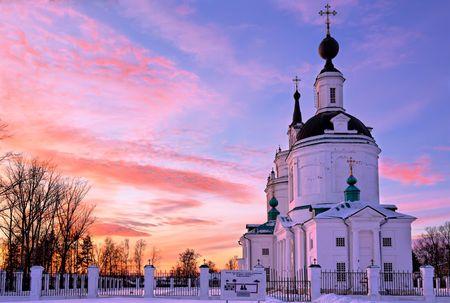boldino: Russian church at sunset Stock Photo