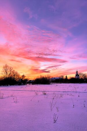 boldino: Winter sunset in russian countryside