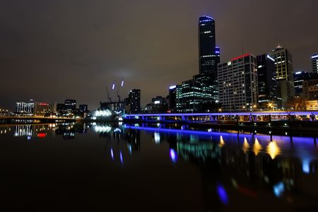 Melbourne at night, Yarra river photo