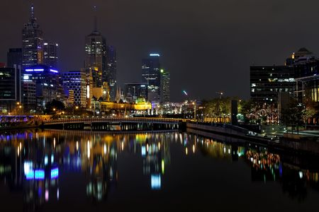 Melbourne at night, Yarra river Stock Photo - 3879489