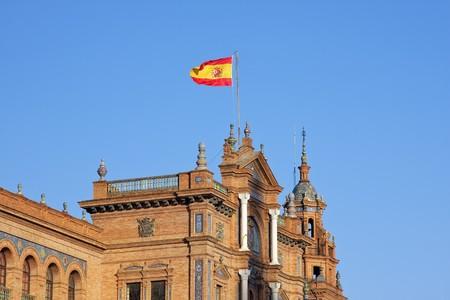 sevilla: Spaanse vlag, Plaza de Espana, Sevilla, Spanje