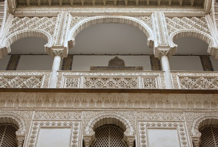 seville: Fragment of interior of the Reales Alcazares, Seville, Spain.