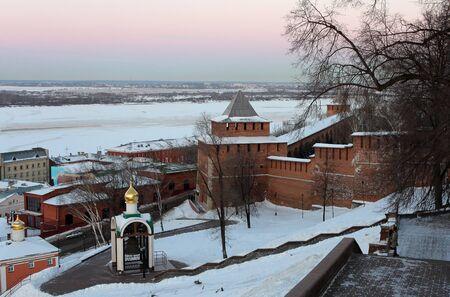 Nizhny Novgorod kremlin at winter, Russia photo
