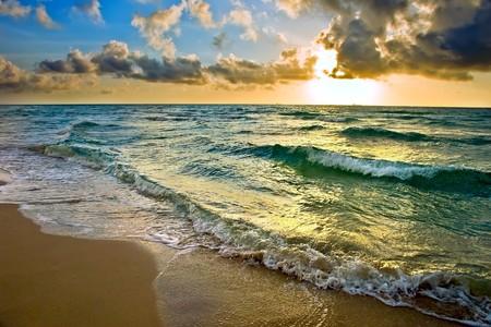sea storm: Sunrise, Atlantic ocean coast, FL, USA