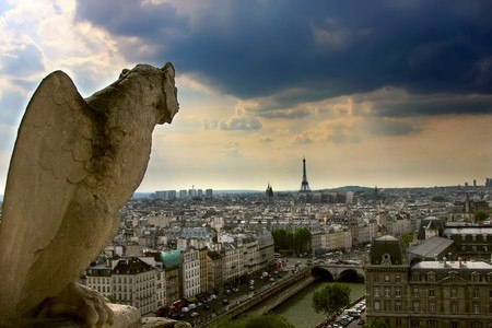 View on Paris from Notre Dame Cathedral, Parice, France Stock Photo