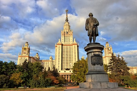 mikhail: M.V.Lomonosov monument in front of Main building of Moscow State University, Moscow, Russia