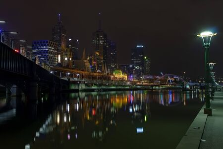 Melbourne at night, Yarra river Stock Photo - 4420072