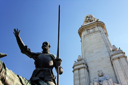 Fragment of Miguel de Cervantes monument - Don Quixote, Plaza de Espana, Madrid photo