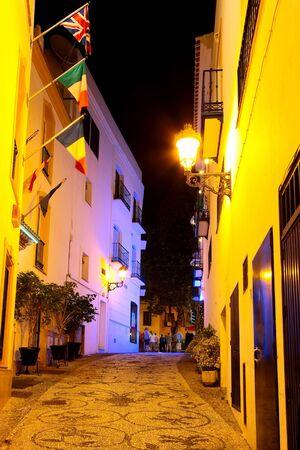 nerja: Street in Nerja at night, Spain