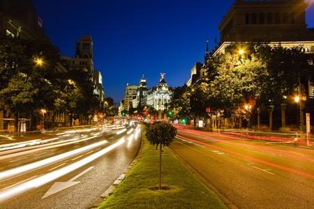 Traffic in night Madrid, Spain Stock Photo - 4495956