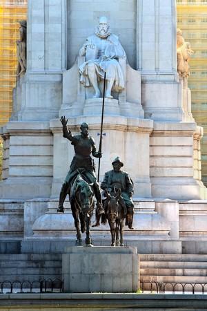 espana: Miguel de Cervantes monument, Plaza de Espana, Madrid