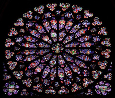 notre dame cathedral: Stained-glass window of Notre Dame de Paris Editorial