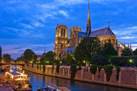 Notre Dame de Paris at night, Paris, France photo