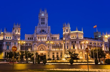 Plaza de Cibeles at night, Madrid, Spain photo