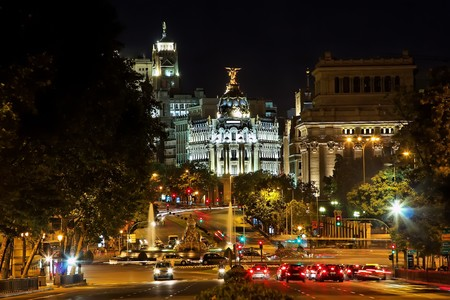 Nightview of Plaza de Cibeles in Madrid, Spain photo
