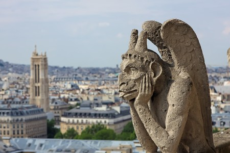 notre: Gargoyle on Notre Dame Cathedral, Paris, France Stock Photo