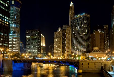 Chicago at night, IL, USA photo