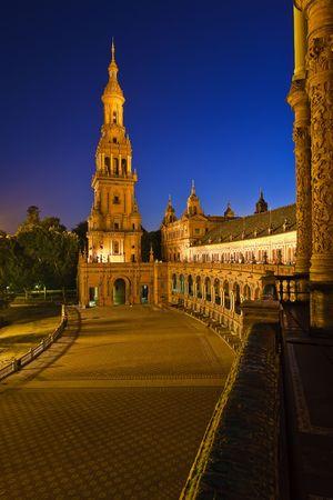 espana: Plaza de Espana at night, Sevilla, Spain Stock Photo