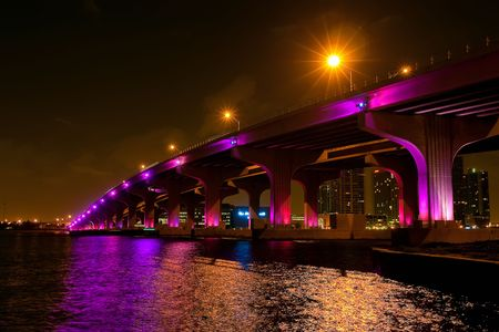 oceanfront: Night view of the bridge in downtown Miami
