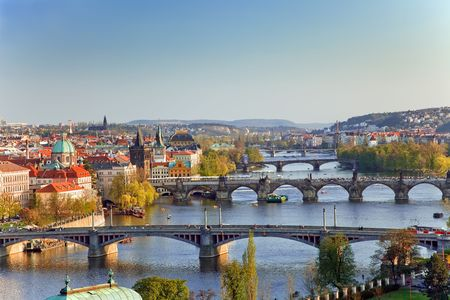 View on Prague Bridges at sunset Stock Photo - 4707665