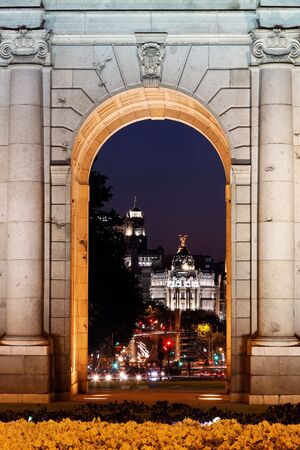 Night view of the monument Puerta de Alcala, Madrid, Spain photo