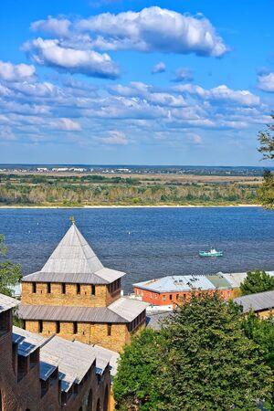 View on Volga river from Nizhny Novgorod kremlin, Russia photo