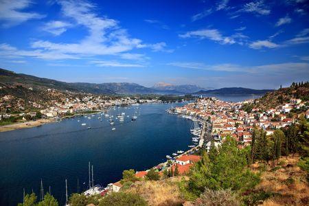 poros: View on Poros and Galatos, Greece