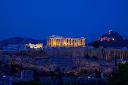 Night view of Acropolis, Athens, Greece photo