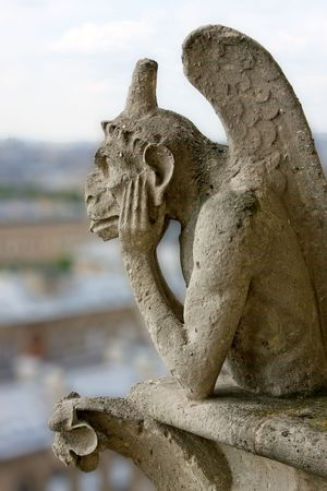 notre dame cathedral: Gargoyle on Notre Dame Cathedral, Paris, France Stock Photo