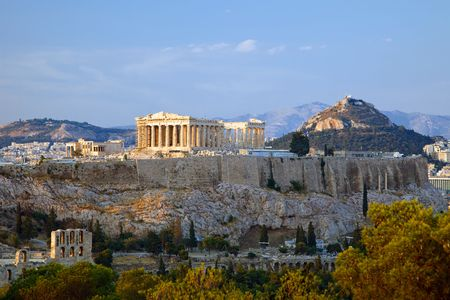 grecia antigua: Ver a la puesta del sol sobre la Acr�polis, Atenas, Grecia