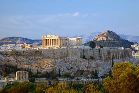 antica grecia: Vista al tramonto sulla Acropoli, Atene, Grecia Archivio Fotografico