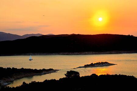 Beautiful sunset over Aegean sea, Poros, Greece Stock Photo - 5355871