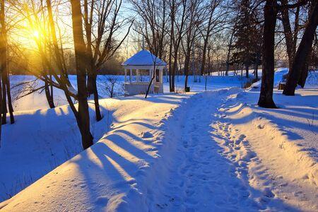 boldino: Winter park at sunset, Russia