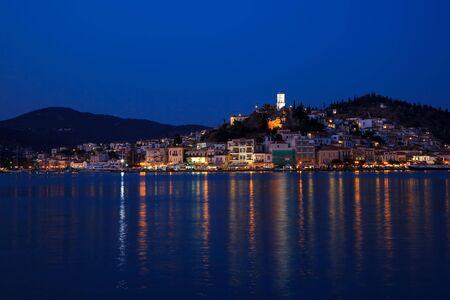 poros: Greek island Poros at night, Greece, 2009 Stock Photo