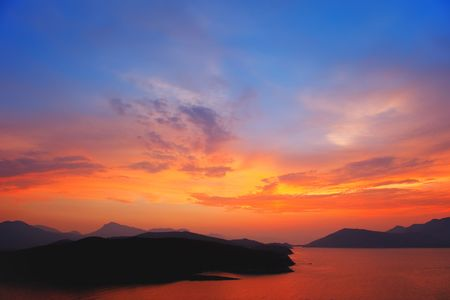 aegean sea: Beautiful sunset over Aegean sea, Greece Stock Photo