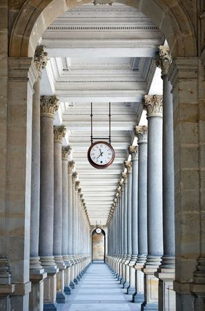 karlovy vary: Classical style colonnade in Karlovy Vary, Czech Republic Stock Photo