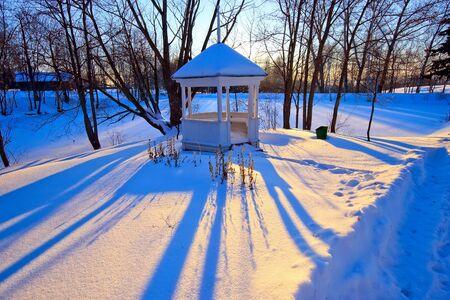Winter park at sunset photo