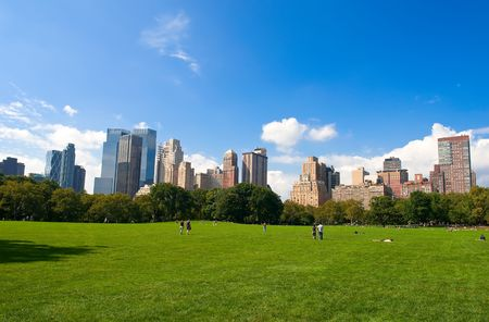 state park: Manhattan skyline from the Central Park, New York, USA Stock Photo