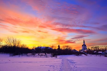 Colorful sunset in russian countryside photo
