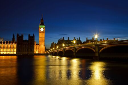 Big Ben y del Parlamento en la noche, Londres, Reino Unido