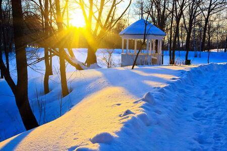 pavillion: Beautiful sunset in a winter park, Russia Stock Photo