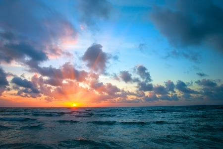 dramatic sunrise: Sunrise over Atlantic ocean,  FL, USA