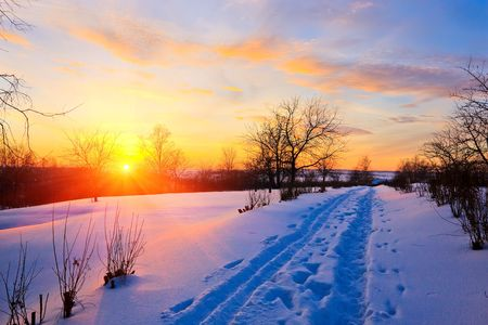 boldino: Sunset in countryside at winter